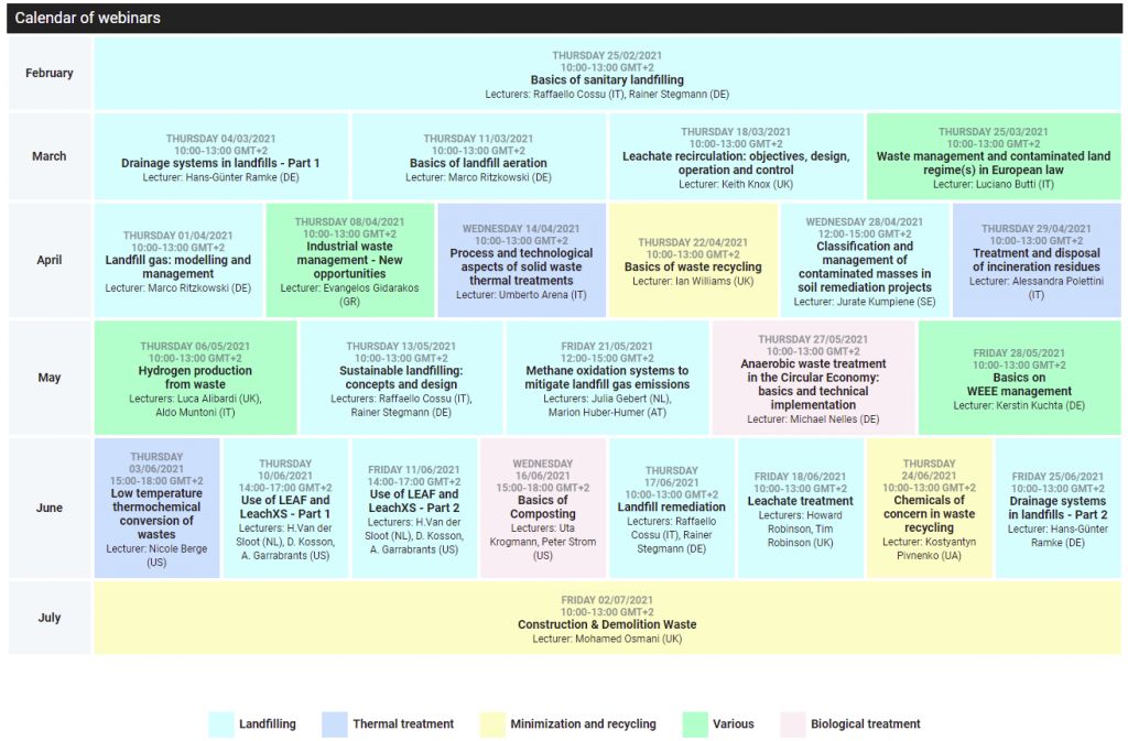 Webinar Calendar - Sardinia Academy of Waste Management